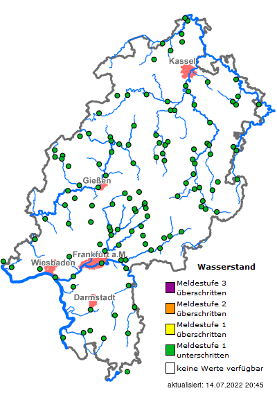 Karte Kassel Und Umgebung.Hochwasserportal Hessen